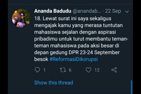 Ananda Badudu buka suara cuitan #reformasidikorupsi