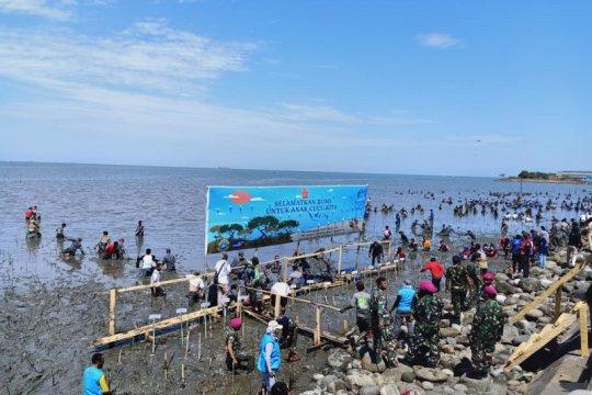 Pelabuhan Untia Makassar ditanami ribuan bibit mangrove oleh TNI-AL