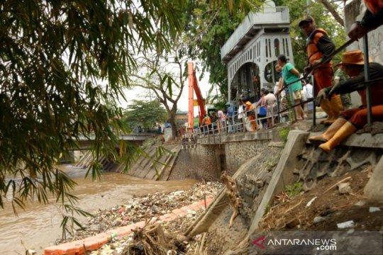 Sampah kayu dan pohon di Pintu Air Manggarai dibersihkan