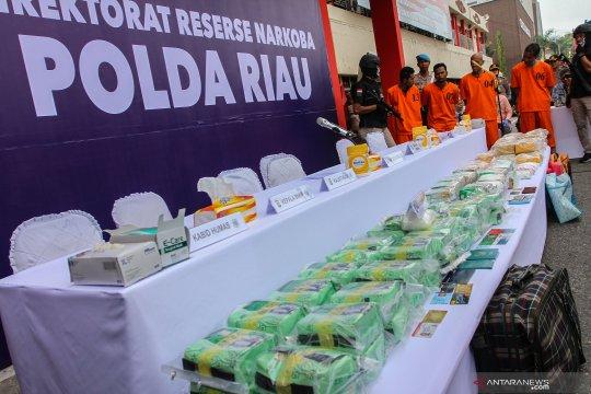 Polda Riau amankan 89 kilogram sabu-sabu dari Malaysia