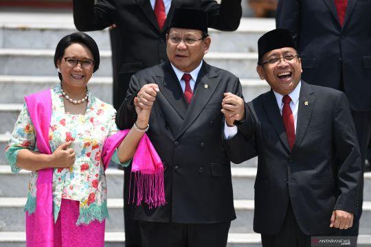 Prabowo, Pratikno, dan Retno Marsudi usai pelantikan