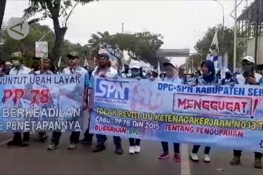 Aksi unjuk rasa buruh sampaikan 3 aspirasi