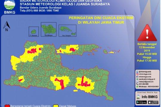 BMKG peringatkan sebagian wilayah Jatim berpotensi hujan deras