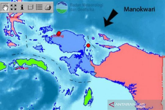 Gempa bumi magnitudo 4,4 landa Manokwari Sabtu malam