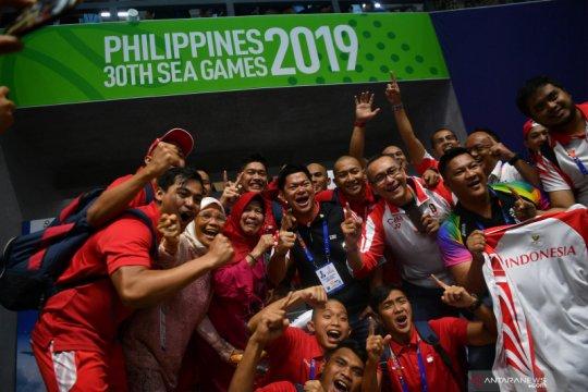 Selebrasi emas pertama Indonesia di SEA Games