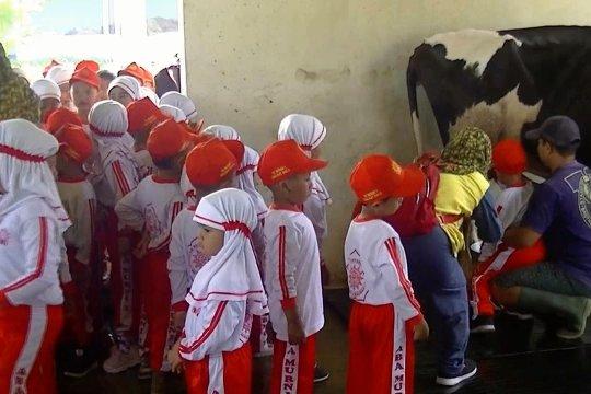 Mendekatkan anak TK pada lingkungan dan binatang