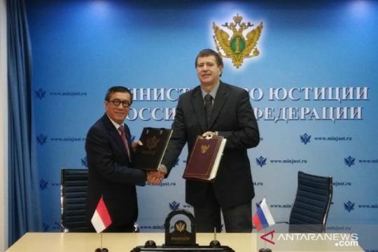 Menkumham RI tanda tangani perjanjian hukum dengan Rusia