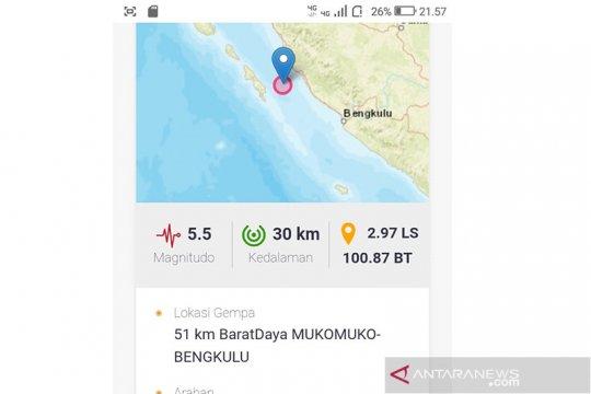 Gempa Mukomuko tak berpotensi tsunami