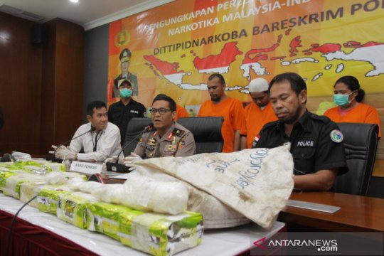 Bareskrim tangkap lima tersangka, sita 24 kg sabu-sabu asal Malaysia