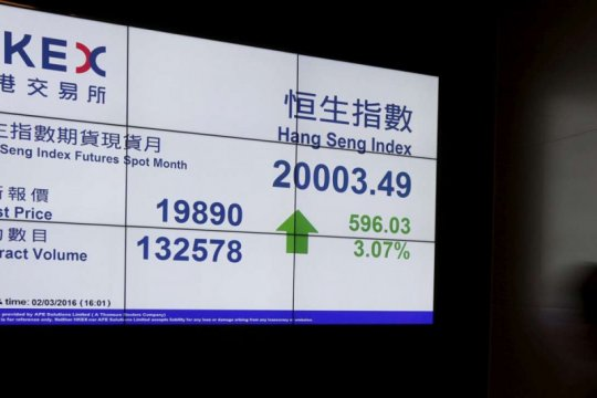 Saham Hong Kong naik lagi, Indeks Hang Seng melonjak 1,96 persen
