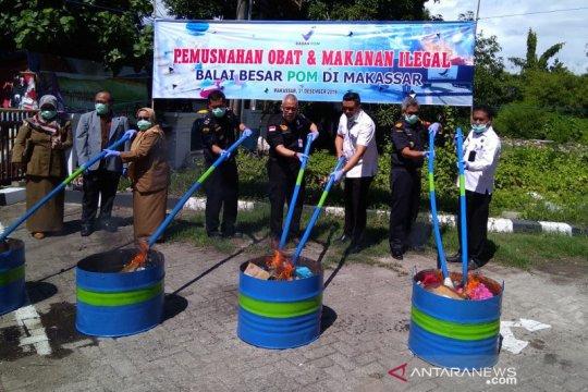 BBPOM Makassar musnahkan obat dan makanan ilegal senilai Rp1,4 miliar