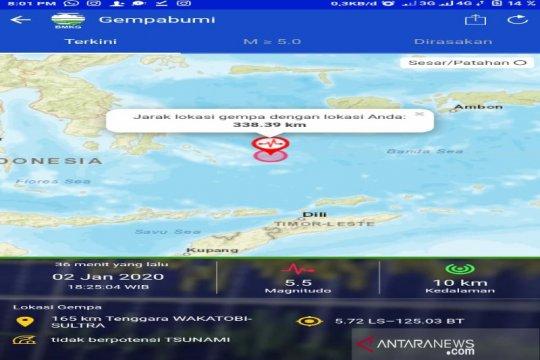 Gempa magnitudo 5,6 di Laut Banda, terasa di Wakatobi