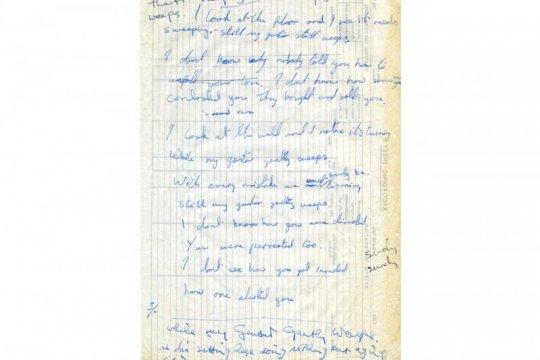 Tulisan tangan lirik lagu Beatles ini dilelang