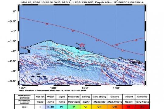 Gempa magnitudo 5,1 di Sarmi tidak berpotensi tsunami