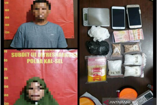 Polda Kalsel ringkus pasangan suami istri simpan 370,39 gram narkotika