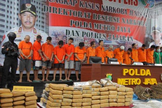 Polda Metro Jaya ungkap kasus ganja  1,343 ton