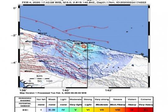 Tidak berpotensi tsunami, gempa berkekuatan M 5 guncang Jayapura