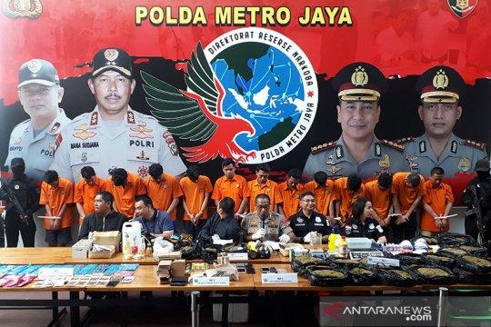 Polda Metro Jaya tangkap 13 tersangka kasus tembakau gorila