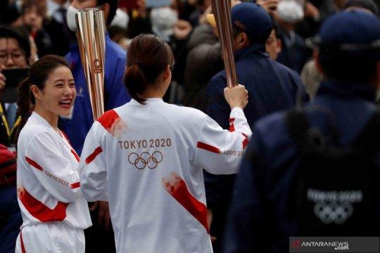 Latihan prosesi Pawai Obor Olimpiade Tokyo 2020