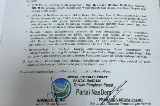 DPP NasDem setujui Husen-Paulina bertarung dalam Pilkada Sigi