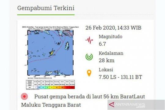 Gempa magnitudo 6,7 guncang Maluku tidak berpotensi tsunami