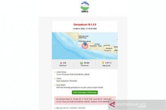 Flash - Terasa di Jakarta gempa magnitudo 5,0 di Sukabumi