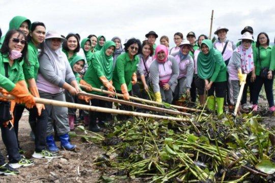Eceng gondok di Danau Tondano dibersihkan istri prajurit TNI-AD