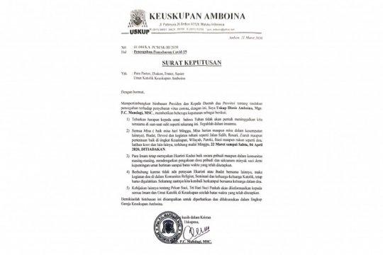 Uskup Diosis Amboina tiadakan misa di Maluku-Malut