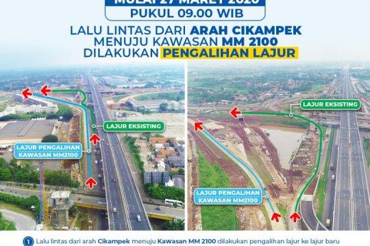Besok, lalu lintas arah Cikampek menuju Kawasan MM2100 dialihkan