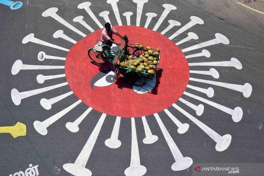 Mural virus Corona di jalanan kota Chennai