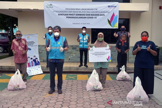 PLN Riau donasikan 1.000 sembako dan APD untuk penanggulangan COVID-19