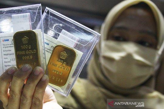 Harga emas naik tipis ditopang lonjakan corona dan ketegangan AS-China