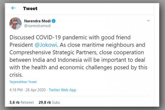 Presiden Jokowi, PM Modi bertelepon bahas pandemi COVID-19