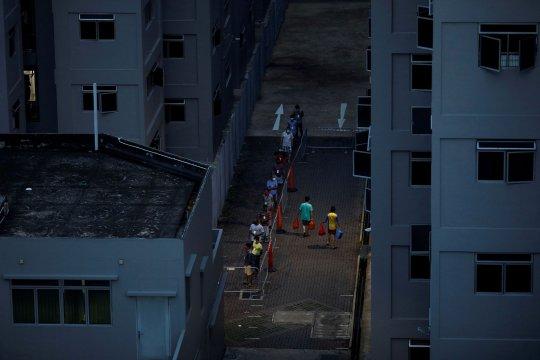 Separuh dari pekerja migran di asrama Singapura terjangkit COVID-19