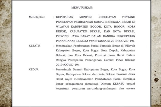 Menkes resmi keluarkan surat keputusan PSBB Bogor, Depok, dan Bekasi