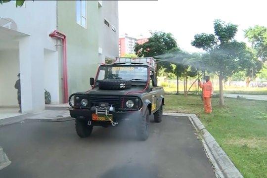 TNI kembali semprotkan disinfektan di RS Darurat Wisma Atlet