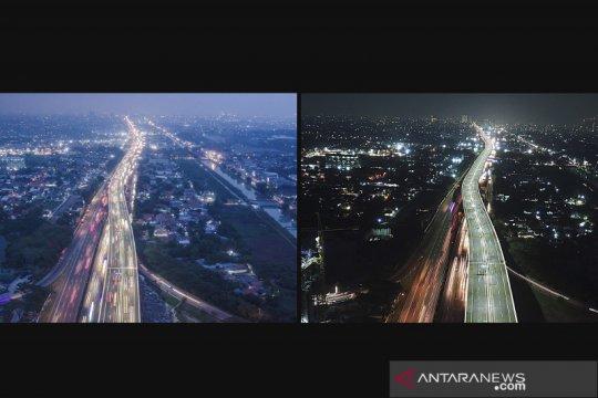 Perbandingan suasana tol layang Jakarta-Cikampek sebelum dan sesudah ditutup