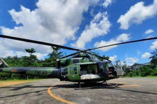 Kodam XII/Tpr distribusikan bantuan beras gunakan helikopter