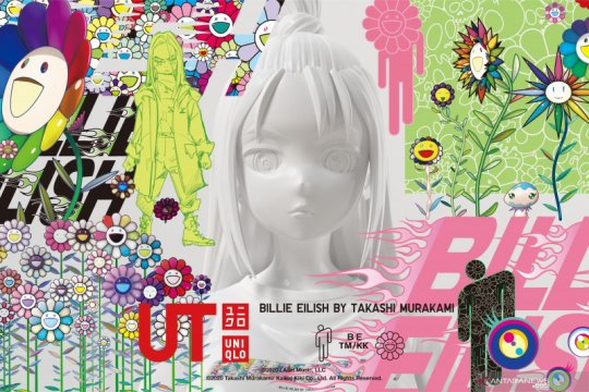 Hasil kaos kolaborasi Billie Eilish dan Takashi Murakami untuk Uniqlo