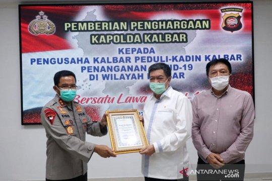 Kapolda Kalbar beri penghargaan kepada perusahaan peduli COVID-19