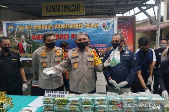 Polisi gagalkan peredaran 35 kg sabu-sabu dari Malaysia menuju Medan