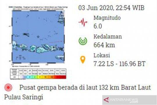 Getaran gempa magnitudo 6.0 di Pulau Saringi terasa hingga Bali