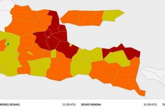 Zona merah di Jatim turun jadi tujuh daerah