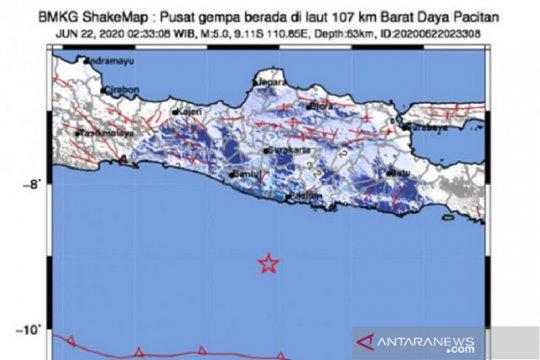 Gempa magnitudo 5,0 di Pacitan