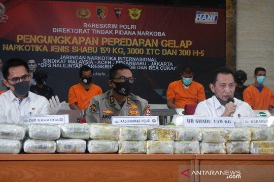 Bareskrim sita 159 kg sabu-sabu asal China dan tangkap 5 tersangka