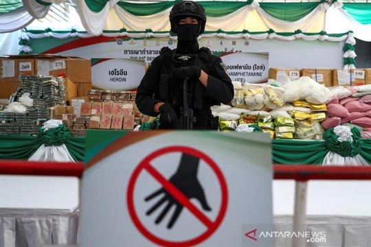 Penghancuran narkotika hasil sitaan di Thailand