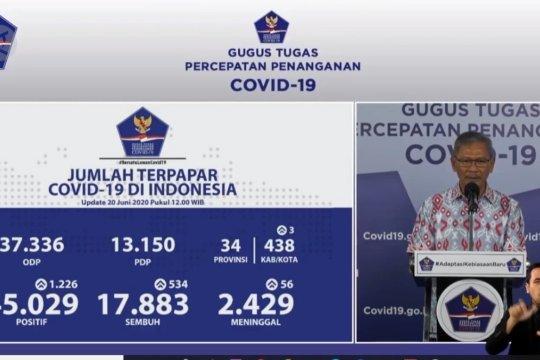 Terkini : Pasien sembuh 17.883 orang, kasus positif 45.029