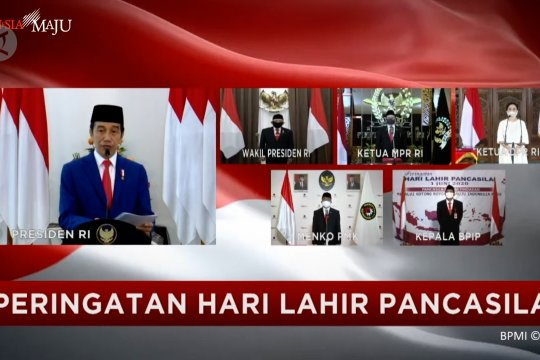 Presiden Jokowi pimpin upacara hari lahir Pancasila virtual
