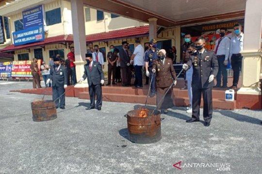 Polres Bengkalis musnahkan 13,5 kilogram ganja kering