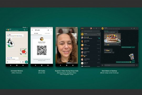 WhatsApp luncurkan stiker, kode QR dan mode gelap